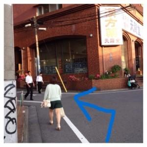 コンビニとスポーツ用品店を越え漢方薬の看板が出た角を左折