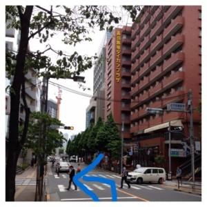 真っ直ぐ歩き左側に100円LAWSON(閉店したので現在は跡地看板はあります)ある点字図書館南交差点を左折